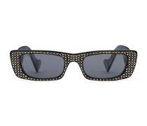 Rechteckige Sonnenbrille mit Kristallen