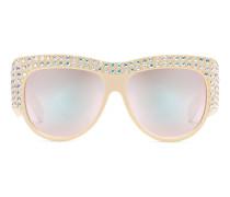 Extragroße Sonnenbrille mit Kristallen
