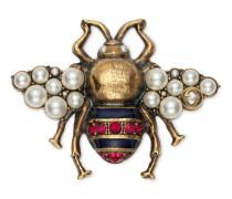 Bienen-Brosche mit Kristallen und Perlen