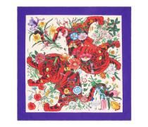 Halstuch aus Seide mit Flora Tiger-Print
