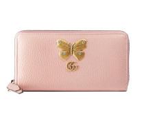 Brieftasche mit Rundumreißverschluss aus Leder mit Schmetterling