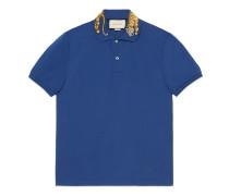 Poloshirt aus Baumwolle mit Tiger-Stickerei