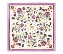 Halstuch aus Seide mit Blumen- und Rehkitz-Print