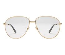 Brille aus Metall in Pilotenform mit Web