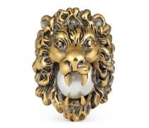 Ring mit glasperlenbesetztem Löwenkopf