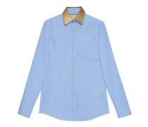 Hemd aus Oxford-Baumwolle mit Kragen aus Lurex