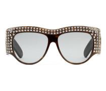 Extragroße Sonnenbrille aus Azetat mit Kristallen