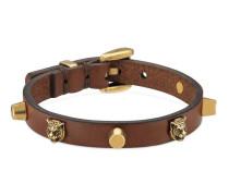 Armband aus Leder mit Felineköpfen