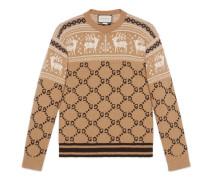 Pullover aus GG und Rentier-Wolljacquard