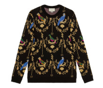 Pullover aus Wolljacquard mit Voliére-Motiv