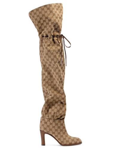 Gucci Damen Overknee-Stiefel aus Original GG Canvas Billig Verkauf Finden Große MTTAi