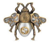 Bienen-Ring mit Kristallen und Perlen