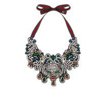 Katzenkopf-Halskette mit Kristallen