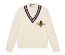Pullover aus Wolle mit Bienen-Applikation