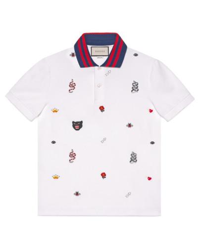 Poloshirt aus Baumwolle mit Stickereien