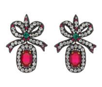 Schleifen-Ohrringe mit Kristall-Stickerei