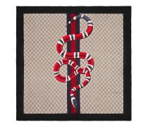 Schal aus GG Seide mit Webdetail und Königsnatter-Print