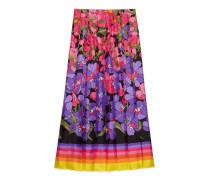Rock aus Seidentwill mit abgestuftem Blumen-Print