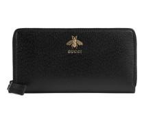 Animalier Brieftasche mit Rundumreißverschluss aus Leder