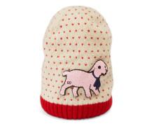 Mütze aus Wolle mit Herzmuster und Lamm-Patch