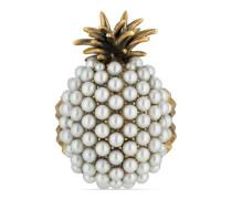 Ananas-Ring aus Metall mit Perlen