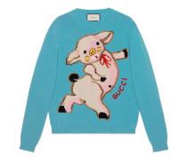 Pullover aus Wolle mit Ferkel für Damen