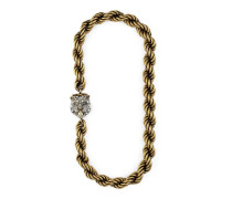 Felinekopf-Halskette mit Kristallen