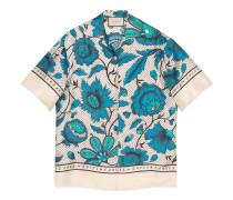 Bowling-Shirt mit Wasserfarben-Blumen