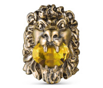 Ring mit Löwenkopf mit Swarovski-Kristall