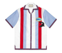 Bowling-Shirt aus Oxford mit Patchs