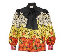 Hemd aus Seidentwill mit abgestuftem Blumen-Print