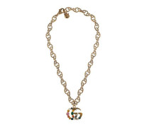 Doppel G Halskette mit Kristallen