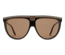 Sonnenbrille in Pilotenform aus Azetat mit Kristallen