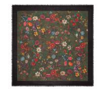 Halstuch aus Wolle und Seide mit Flora-Schlangen-Vintage-Print
