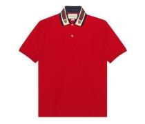 Baumwoll-Poloshirt mit Web und Felinekopf