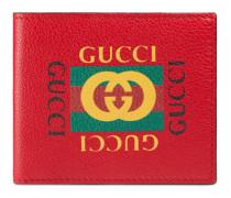 Faltbrieftasche aus Leder mit Gucci Print
