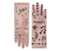 Handschuhe aus Tüll mit Symbole-Stickerei