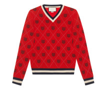 Pullover aus Wolle mit Tiger-Argyle-Motiv