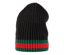 Mütze aus Wolle mit Webdetail