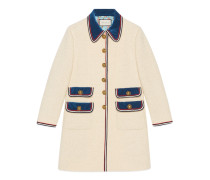 Mantel aus Wolle mit Samtbesatz