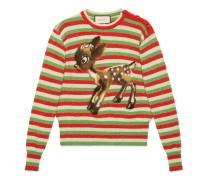 Pullover aus gestreifter Wolle und Lurex