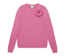 Pullover aus Wolle mit abnehmbarer Rose
