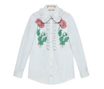 Hemd aus gestreifter Baumwolle mit Stickerei