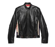 Jacke aus Leder mit Gucci Streifen