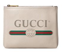 Kleine Aktentasche aus Leder mit Gucci Print