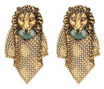 Löwenkopf-Ohrringe in Netzoptik