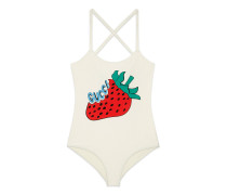 Stretch-Gewebe-Badeanzug mit Gucci Strawberry-Print
