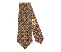 Krawatte mit Doppel G Horsebit Ketten-Print