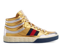 High-Top Sneaker aus Metallic-Leder
