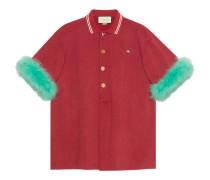 Übergroßes Poloshirt aus Baumwolle mit Federn